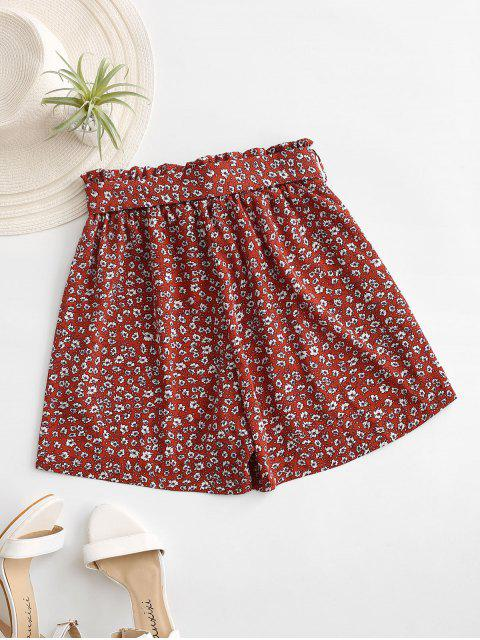 best Ditsy Print Paperbag Shorts - RED XL Mobile