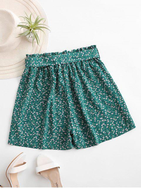 affordable Ditsy Print Paperbag Shorts - GREEN M Mobile