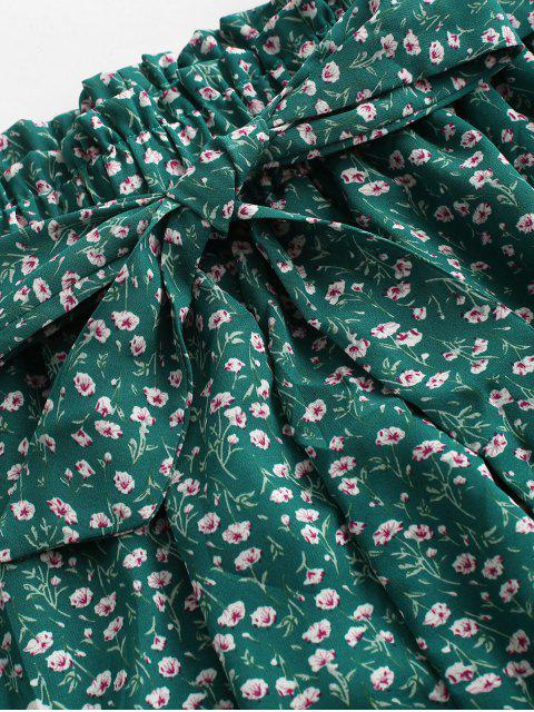 best Ditsy Print Paperbag Shorts - GREEN L Mobile