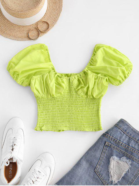 outfit Puff Sleeve Smocked Crop Top - GREEN S Mobile