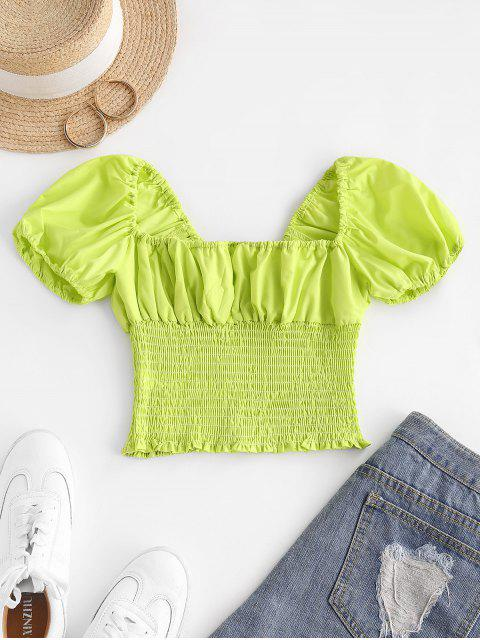 new Puff Sleeve Smocked Crop Top - GREEN M Mobile