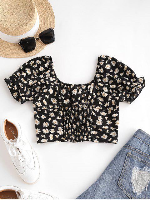 sale Daisy Floral Puff Sleeve Crop Smocked Blouse - BLACK L Mobile