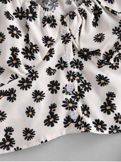 Blouse Courte Fleurie Marguerite à Manches Bouffantes - Blanc L Mobile