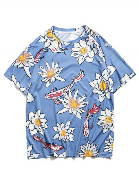 Flower and Fish Print Round Neck T-shirt - أزرق 2XL Mobile