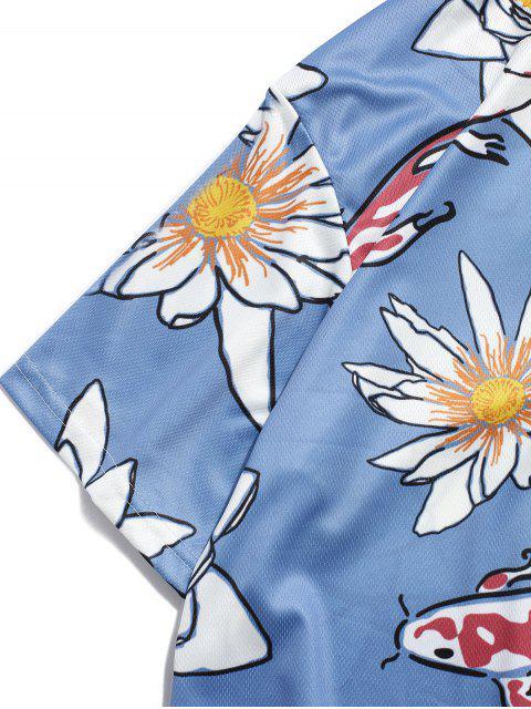 T-Shirt a Girocollo con Stampa Fiori - Blu 2XL Mobile
