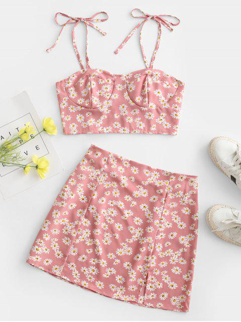 shop Floral Tie Smocked Bustier Two Piece Dress - LIGHT PINK XL Mobile