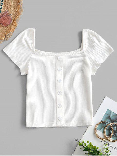 Kurzes Geripptes Falschen Knöpfe T-Shirt - Weiß S Mobile