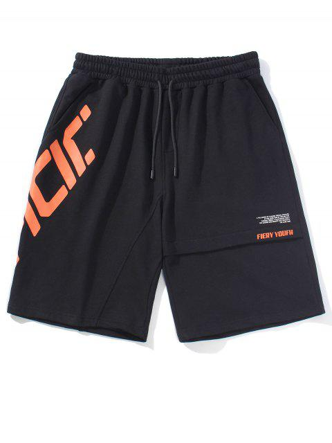 shops Slant Letter Graphic Casual Straight Shorts - BLACK 2XL Mobile