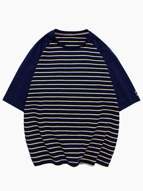 chic Striped Colorblock Raglan Sleeve T-shirt - BLACK 3XL Mobile
