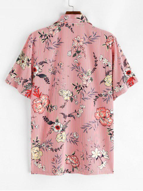 ladies Floral Striped Print Camp Collar Shirt - PINK S Mobile