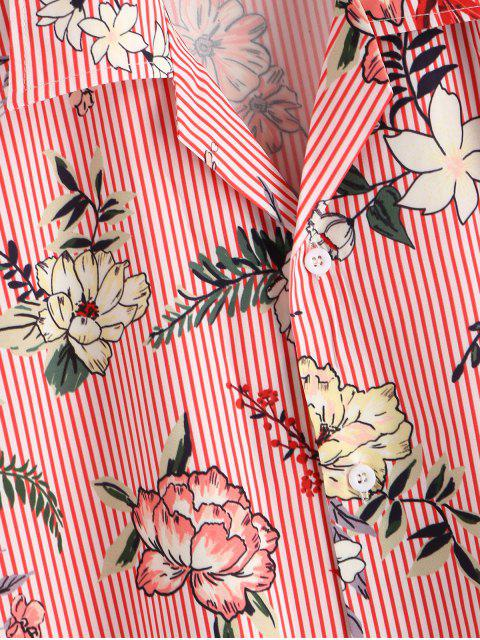 lady Floral Striped Print Camp Collar Shirt - PINK M Mobile