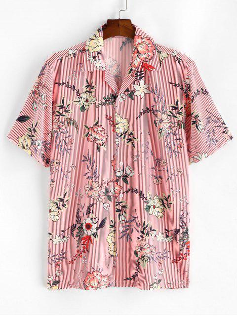 best Floral Striped Print Camp Collar Shirt - PINK L Mobile
