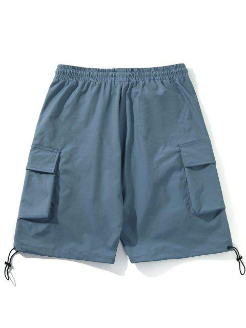outfit Flap Pockets Drawstring Hem Casual Straight Shorts - BLUE XL Mobile