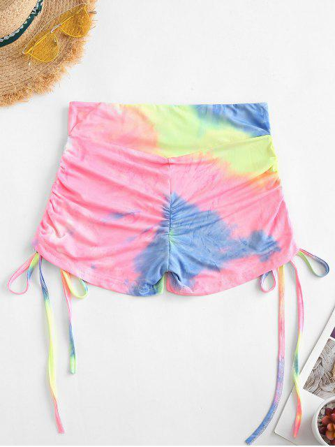 online Cinched Side Overlap Waist Neon Tie Dye Shorts - LIGHT YELLOW L Mobile