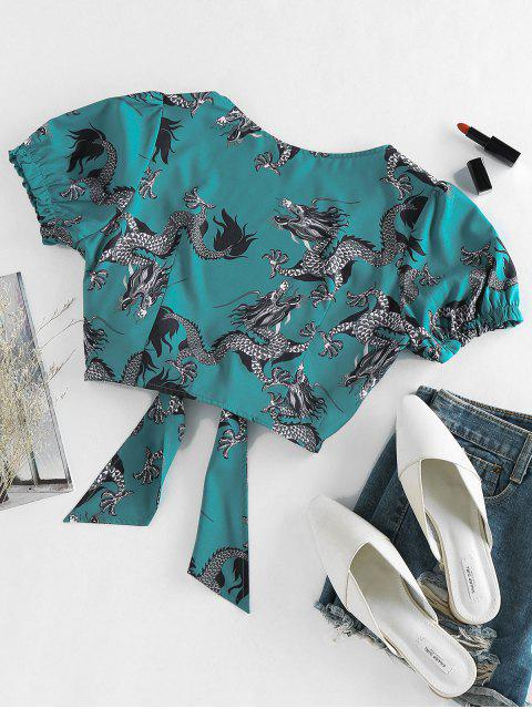 women's ZAFUL Oriental Tie Front Dragon Print Crop Blouse - GREENISH BLUE M Mobile