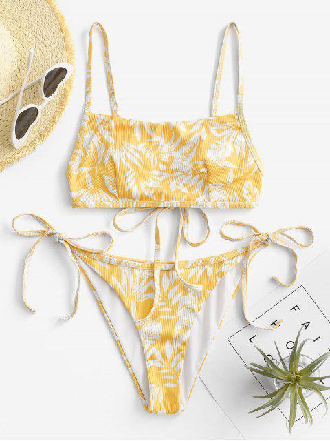 ZAFUL Bikinibadebekleidung mit Gerippten Bindebändern - Gelb S Mobile
