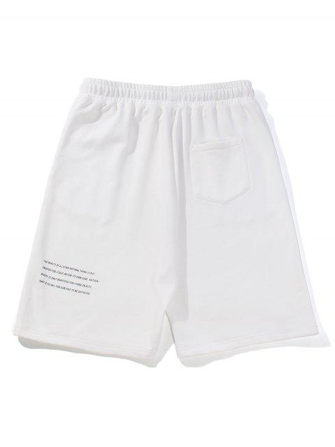 fashion Letter Text Drawstring Straight Shorts - WHITE L Mobile