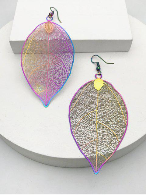 affordable Colorful Hollow Out Leaf Hook Earrings - MULTI  Mobile
