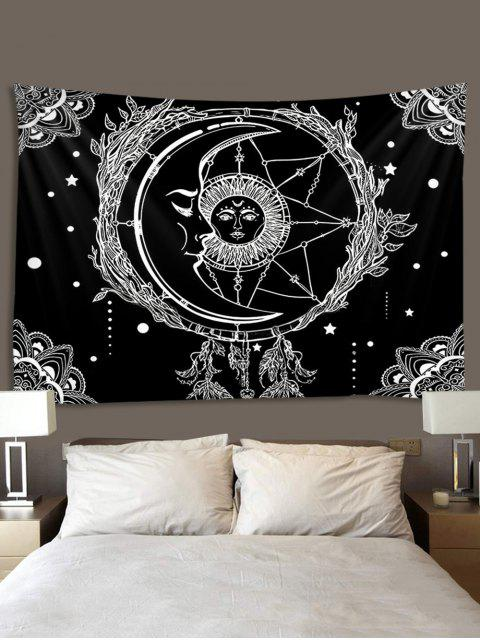 Sun And Moon Digital Printing Waterproof Tapestry - Multi W91 x L71 polegadas Mobile