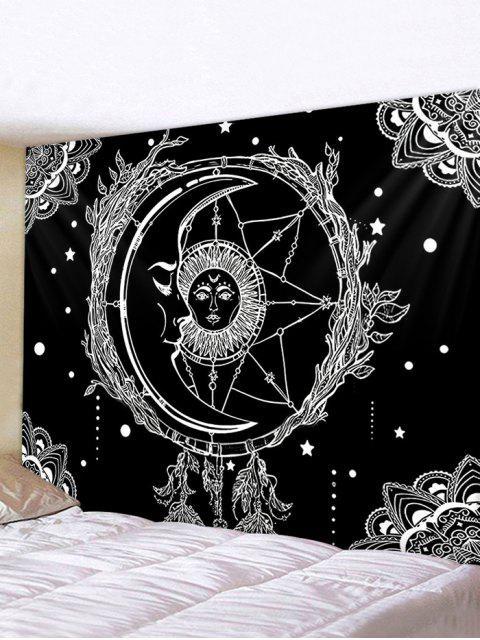 Sun And Moon Digital Printing Waterproof Tapestry - Multi W59 x L51 polegadas Mobile