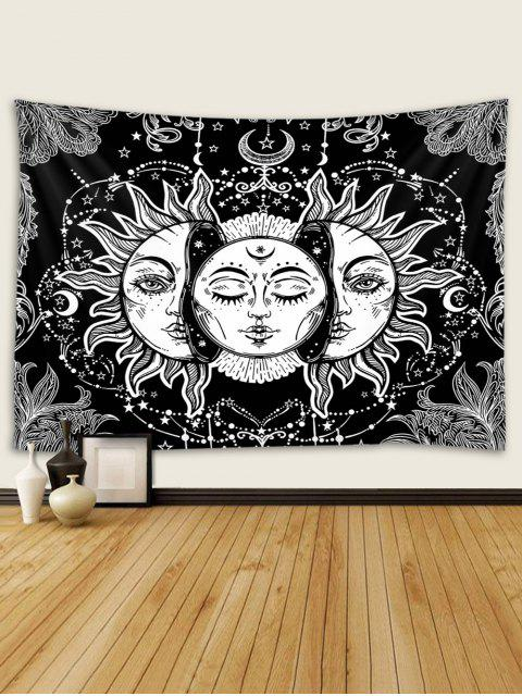 hot Digital Print Sun And Moon Face Waterproof Tapestry - MULTI W91 X L71 INCH Mobile