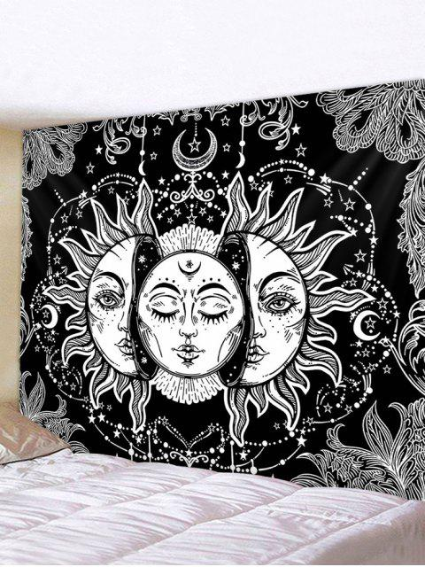 new Digital Print Sun And Moon Face Waterproof Tapestry - MULTI W59 X L51 INCH Mobile