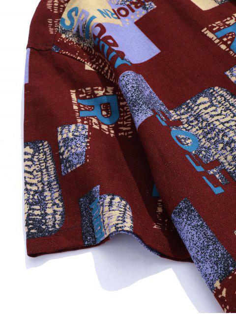 new Letter Pattern Block Vintage Short Sleeve Shirt - DEEP RED 2XL Mobile