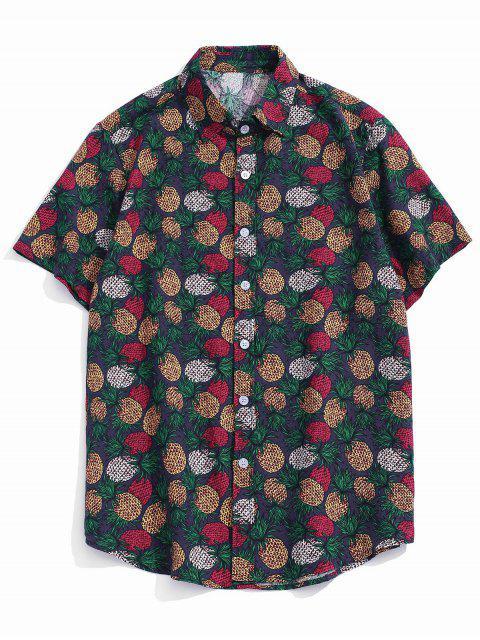 Camisa con Estampado Tropical de Piña con Mangas Cortas - Púrpura XL Mobile