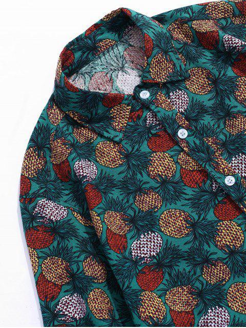 hot Tropical Pineapple Print Short Sleeve Button Up Shirt - GREEN XS Mobile
