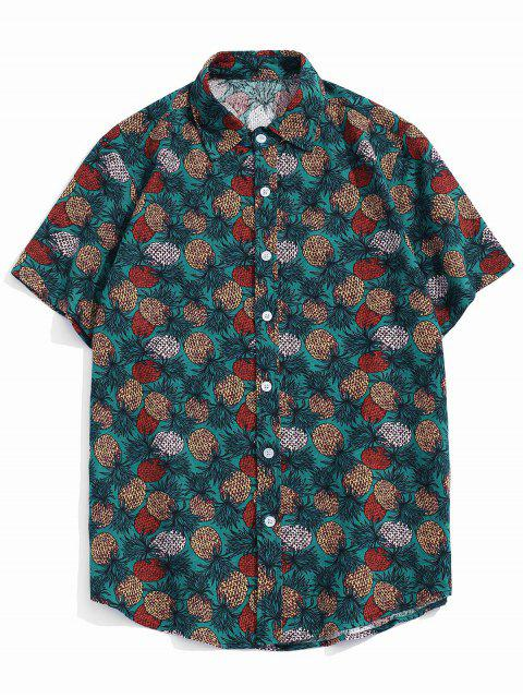 hot Tropical Pineapple Print Short Sleeve Button Up Shirt - GREEN XS Mobile