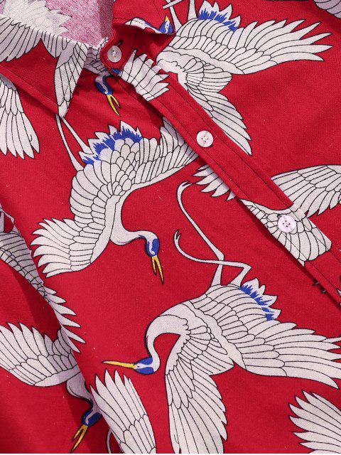 sale Cranes Print Short Sleeve Button Up Oriental Shirt - RED XL Mobile