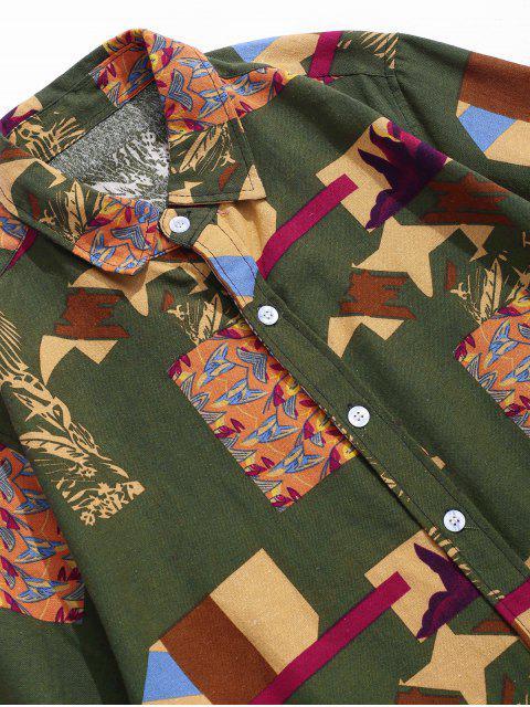best Printed Button Up Retro Linen Shirt - DEEP GREEN 2XL Mobile