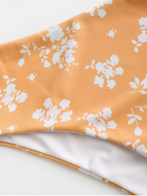 buy ZAFUL Ditsy Print High Waisted Bikini Bottom - ORANGE S Mobile