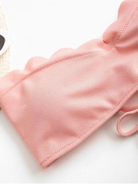 new ZAFUL Textured Scalloped Sweetheart Bandeau Bikini Top - LIGHT PINK S Mobile