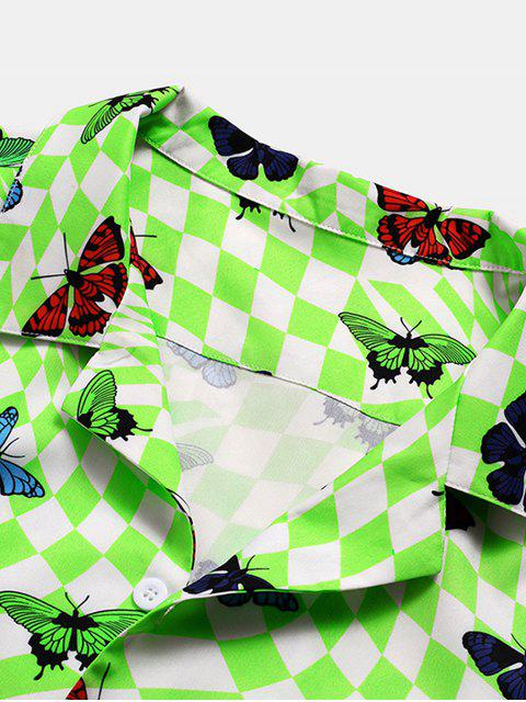 unique Butterfly Checkered Pattern Button Down Shirt - GREEN 2XL Mobile