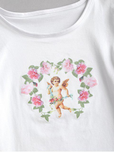 ladies Flower Angel Print Crop T-shirt - WHITE S Mobile