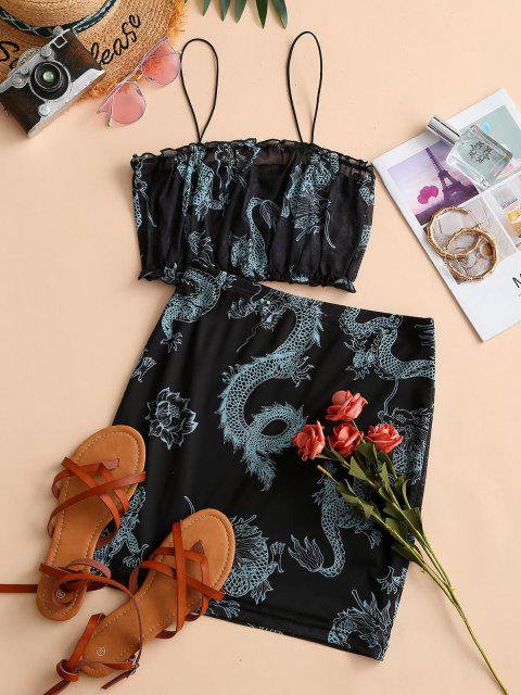 sale ZAFUL Dragon Print Oriental Mesh Ruffle Skirt Set - BLACK S Mobile