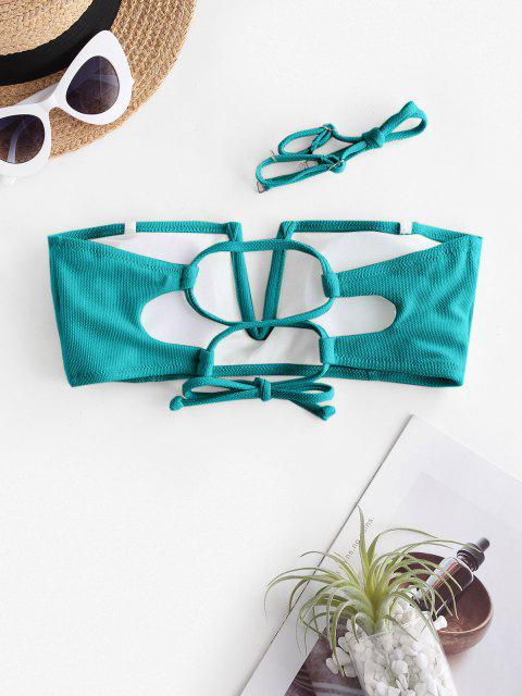 chic ZAFUL V Wire Textured Bandeau Bikini Top - LIGHT GREEN S Mobile