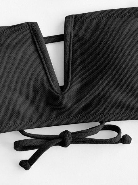 ZAFUL V Draht Strukturiertes Bandeau Bikini Oberteil - Schwarz M Mobile