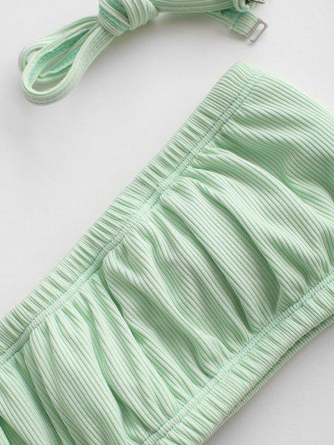 outfits ZAFUL Ribbed Frilled High Cut Bandeau Bikini Swimwear - LIGHT GREEN S Mobile