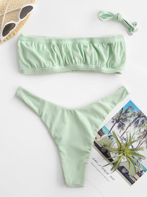 ZAFUL Geripptes Bandeau Bikini Badebekleidung mit Rüschen - Hellgrün M Mobile