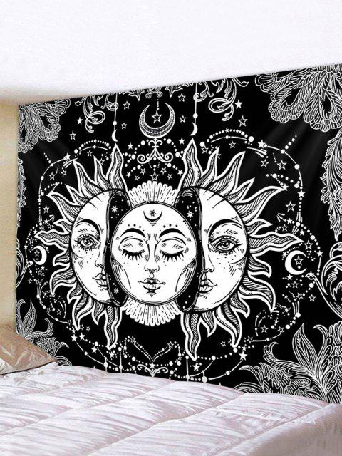 Digital Print Sun And Moon Face Waterproof Tapestry - Multi W79 x L71 polegadas Mobile
