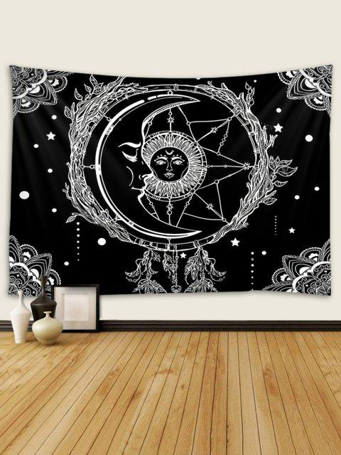 Sun And Moon Digital Printing Waterproof Tapestry - Multi W79 x L71 polegadas Mobile