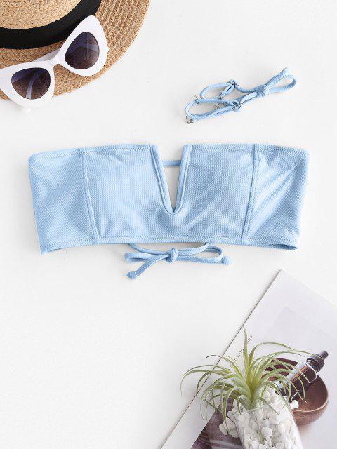 lady ZAFUL V Wire Textured Bandeau Bikini Top - LIGHT BLUE S Mobile