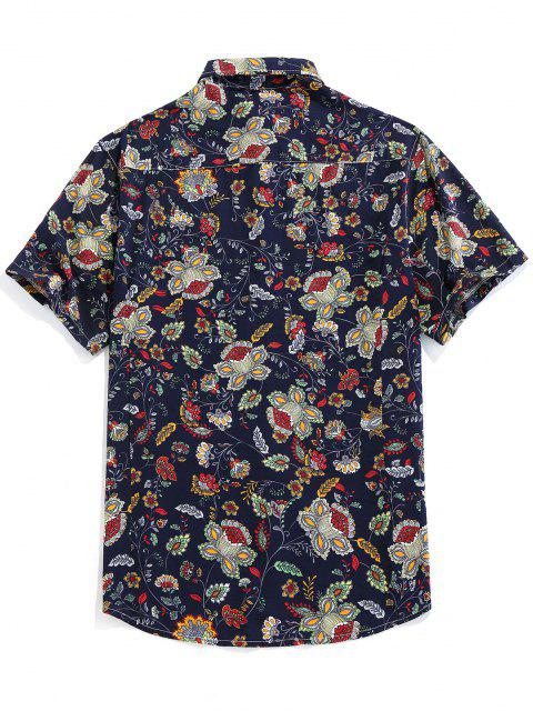women ZAFUL Floral Print Button Up Vintage Shirt - DEEP BLUE M Mobile