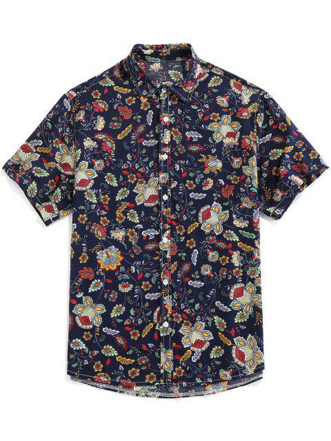 outfit ZAFUL Floral Print Button Up Vintage Shirt - DEEP BLUE L Mobile