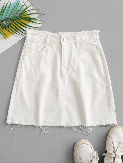 Frayed Pocket Mini Denim Skirt - White M