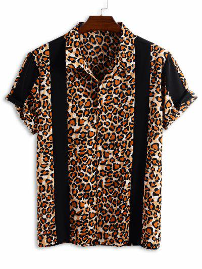 Camisa Estampado Leopardo Botones Panel - Negro 2xl