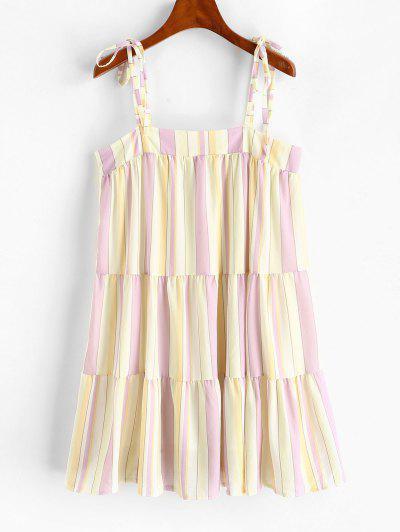 Tie Shoulder Stripes Mini Dress - Yellow M