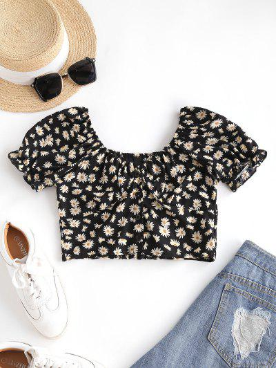 Daisy Floral Puff Sleeve Crop Smocked Blouse - Black M